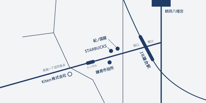 JR鎌倉駅西口よりスターバックスや鎌倉市役所方面に歩き、佐助一丁目交差点を超えたところにkitenがあります